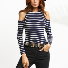 New Fashion Women Striped Sexy Off Shoulder Tee Shirt Slim Fit Long Sleeve Tops O Neck Bottoming Shirt Blouse Plus Size Blusas