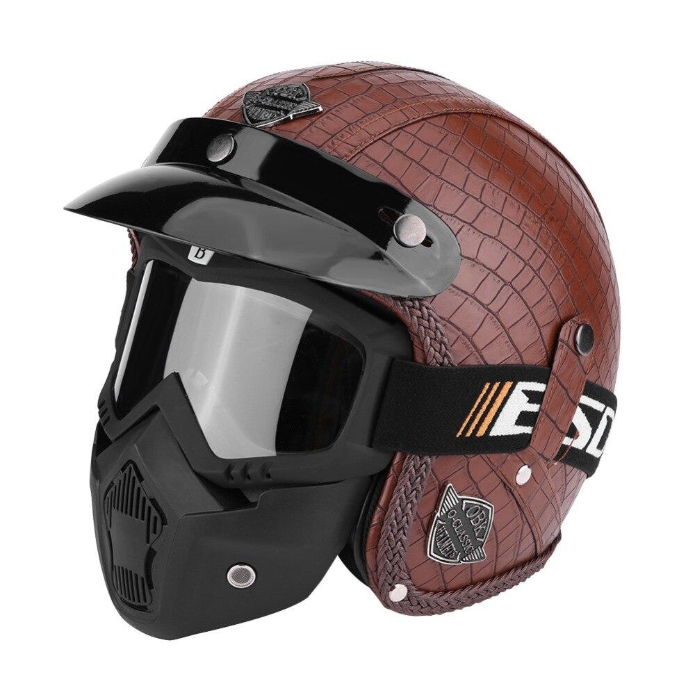 Casques de moto moto Chopper casque de vélo visage ouvert Vintage casque de moto avec masque de lunettes 3/4 PU cuir