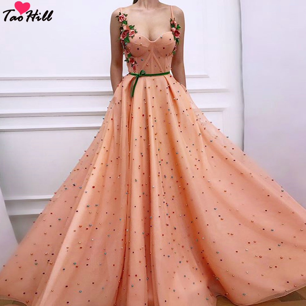TaoHill Evening Dresses for Girls A line Spaghetti Sweetheart Sexy Applique Orange Pearls Dress Long with Sash