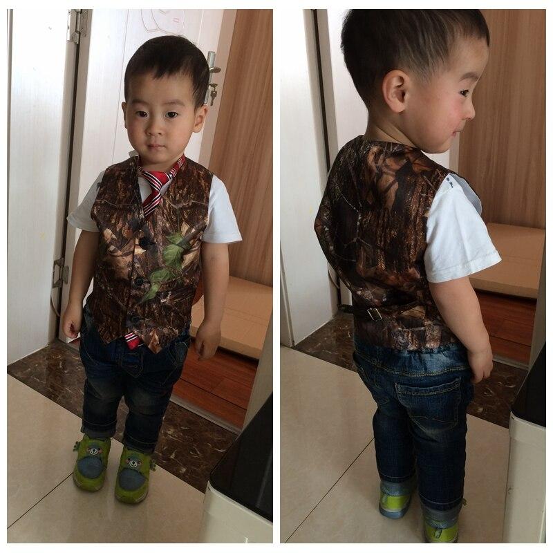 2021 Real Formal Camo Boy's Formal Wear Camouflage Real Tree Satin Vest Cheap Sale Only Vest For Wedding Kids Boy Formal Wear