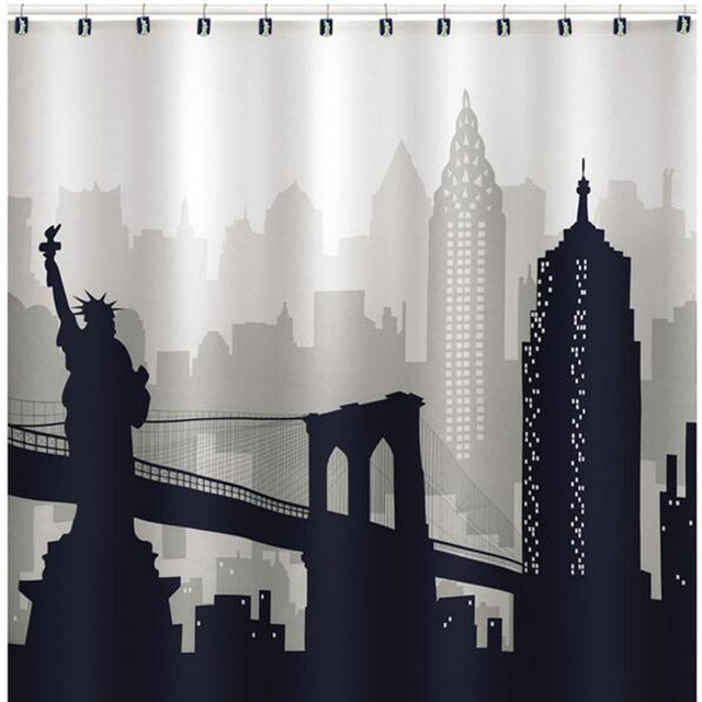 New York City Skyline Statue Of Liberty Shower Curtains Waterproof Polyester Fabric Bathroom Curtain With 12