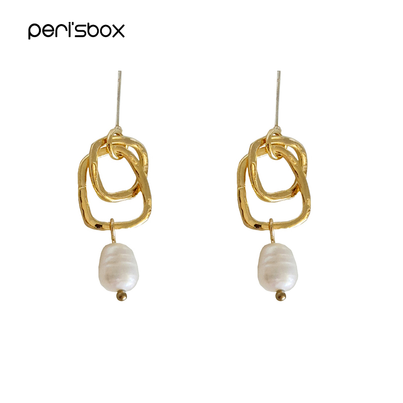 Peri'sBox Geometric Hanging Freshwater Pearls Hoop Earrings for Women Double Square Charms Earrings Small Hoops Wedding Earrings