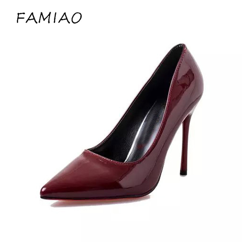 FAMIAO  Women pumps Fashion gradient color High heels single shoes female Spring Summer patent leather wedding party shoes woman 2016 spring and summer free shipping red new fashion design shoes african women print rt 3