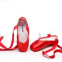 Атласная парусиновая обувь с лентой хлопок гель площадку для девочек для женщин розовый, черный, красный для профессиональных занятий бале...