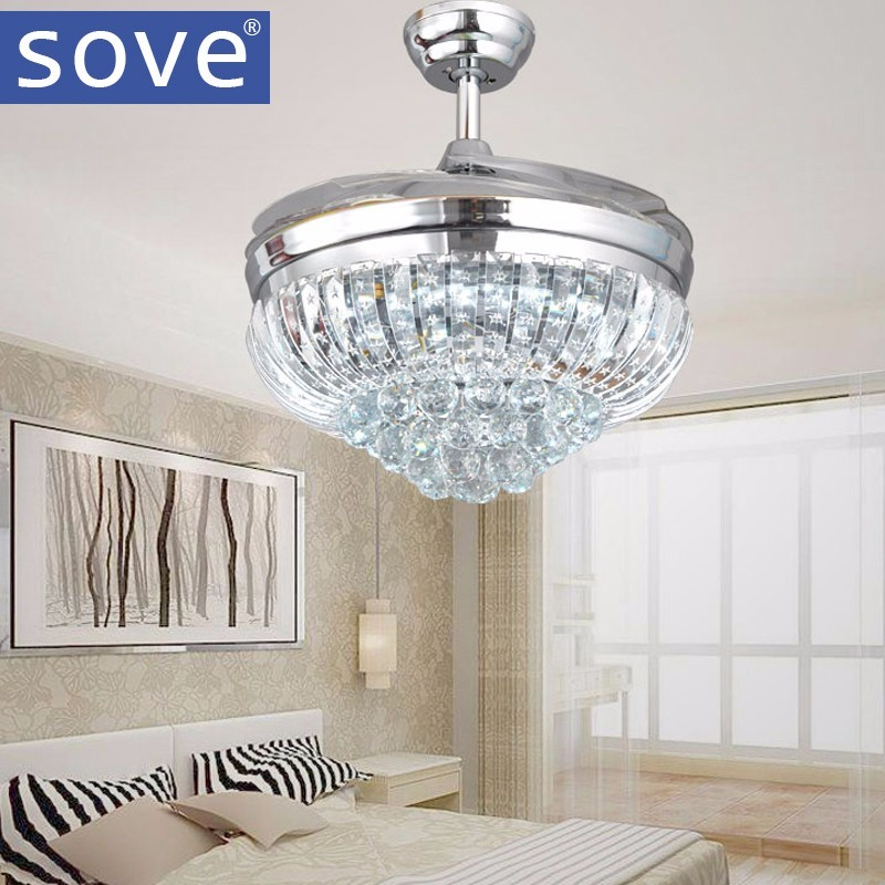 42 inch chrome modern led crystal ceiling fans with lights remote control living room bedroom for Bedroom ceiling fans with lights and remote