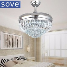 42 inch Chrome Modern LED Crystal Ceiling Fans With Lights Remote Control Living Room Bedroom Home Folding Fan Lamp 220 Volt