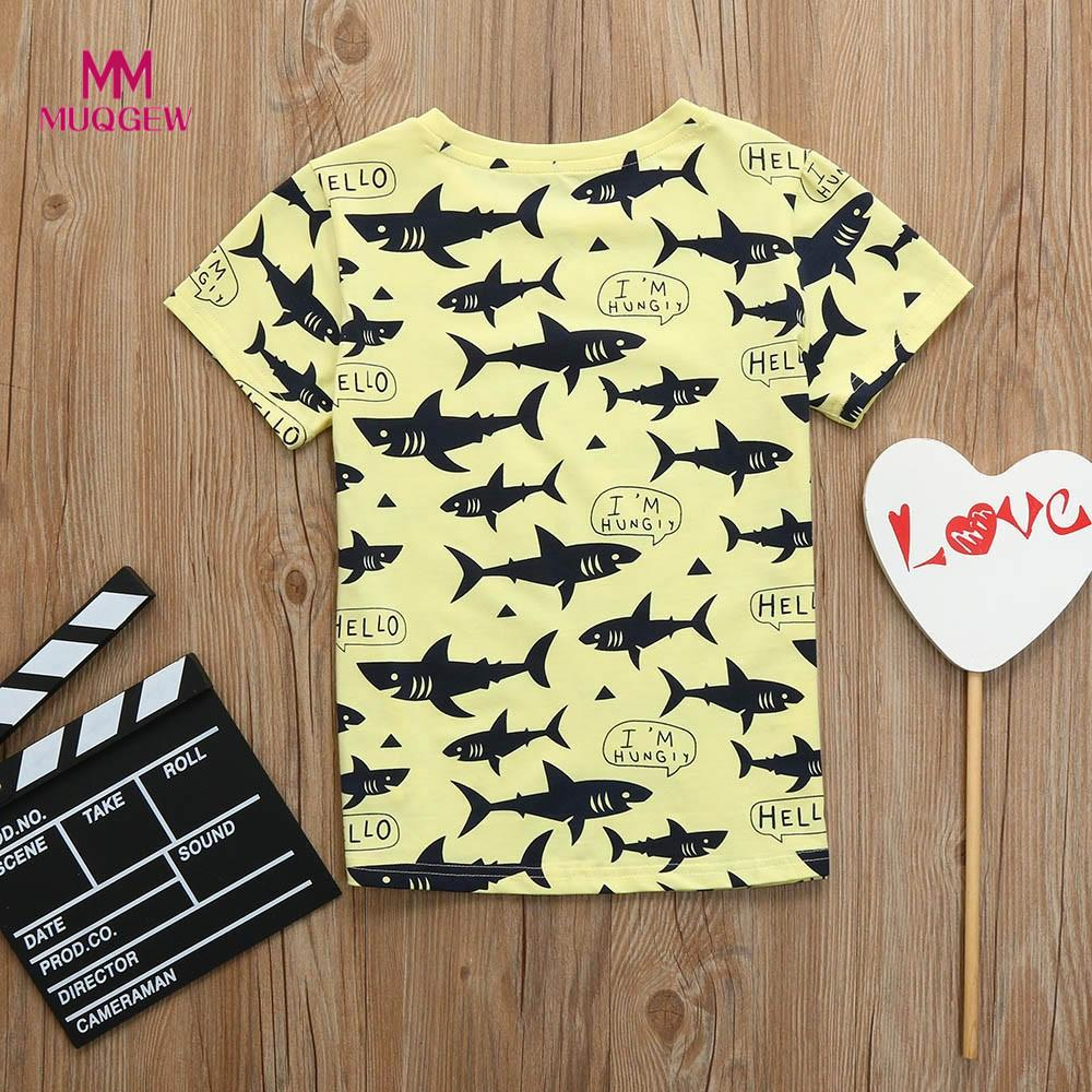 summer fashion t-shirt Children Kid Infant Letter shark Print Tops Blouse T-shirt Outfit Clothes camisas para meninos chemises
