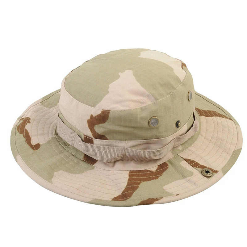 Camouflage Army Boonie Hat Bucket Military Tactical Caps Sunhat Jungle Combat Caps Hiking Fishing Hunting Camo Caps