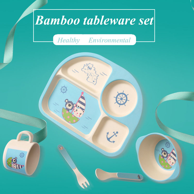 5pcs/set bamboo fiber plate cartoon dinner Tableware Baby bamboo tableware set children tableware Christmas gift тарелка обеденная outwell bamboo dinner plate casablanca white 650515