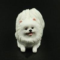 Mini White Bome Dog Simulation Animal Model Creative Dog Sculpture Resin Crafts Home Decoration