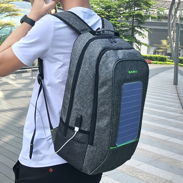 Solar Powered Backpack USB Charging  4