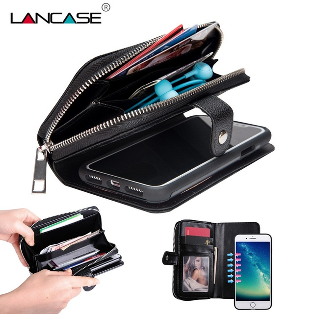 best service 866f8 6a6b3 US $11.99 30% OFF|LANCASE Wallet Leather Cover for iPhone X (10) Case  Zipper Detachable Purse Fundas For iPhone X Case Luxury Handbag for iPhone  X-in ...