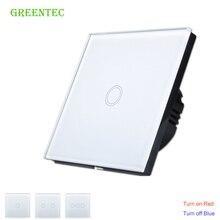 ЕС Стандартный стены сенсорный выключатель роскошный белый стекло, сенсорный выключатель + светодиодный индикатор, 170-240 В, стены выключатель света