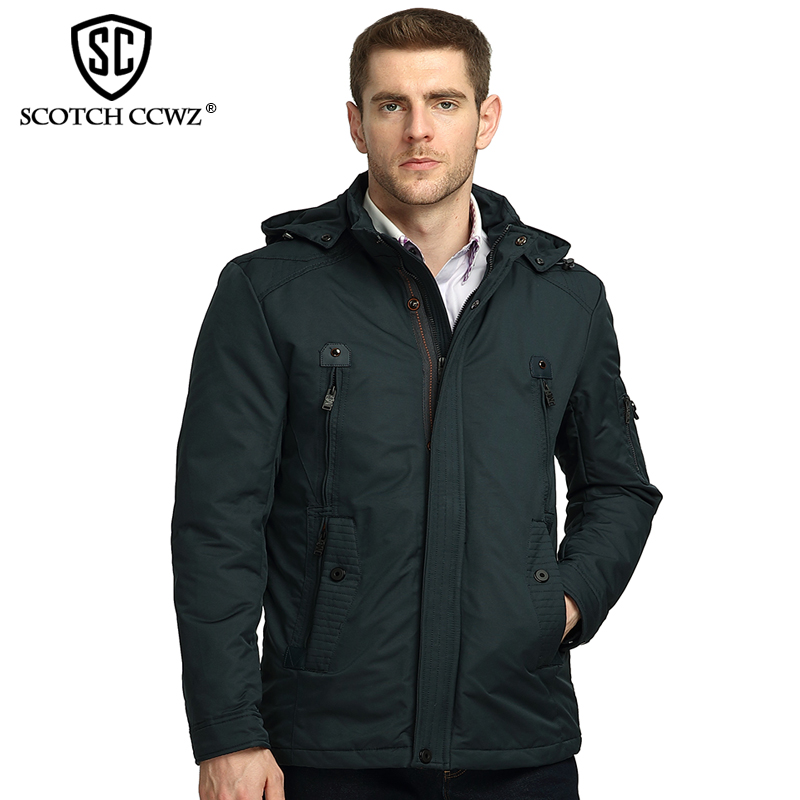 SCOTCH CCWZ Brand Fashion Winter Jacket Men Parka Hooded Casual Outerwear Windproof Jackets And Coats For Men Clothing 5006 scotch