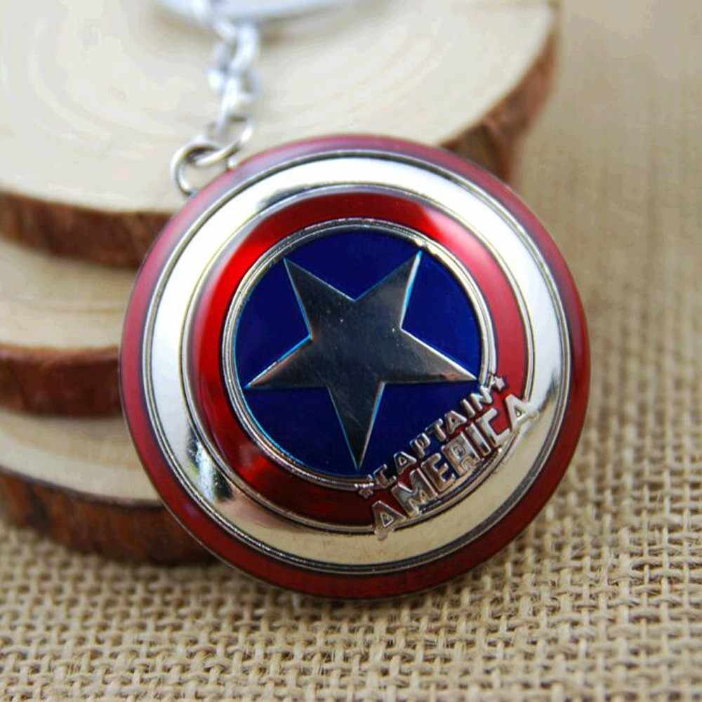 2018 New Hot Marvel Super Hero Captain America pingente anel chave suporte chave llaveros metal avengers Cosplay Chaveiro jóias