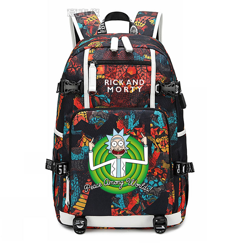New Mochila Student Schoolbag Fashion Printing Laptop Bag Men Travel Bags USB Charging Knapsack Rick And Morty Oxford Backpack