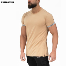 New Fashion trend t-Shirt men short sleeves cotton On the back Splice Casual male t shirts Bodybuilding mens Sweatshirt tops