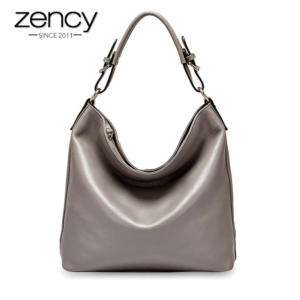 Zency Lady Casual Tote 100 Real Cow Leather Handbag Black Fashion Female Crossbody Messenger Purse Elegant