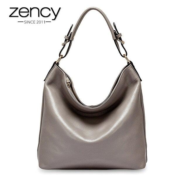Женская Повседневная Сумка тоут Zency из 100% натуральной кожи, черная модная женская сумка мессенджер через плечо, элегантная сумка на плечо