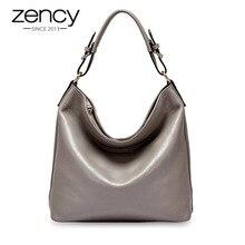 Zency Bolso de mano informal de piel auténtica para mujer, bandolera cruzada, elegante, color negro