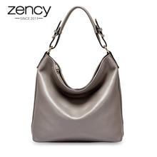 Zency senhora casual tote 100% bolsa de couro genuíno preto moda feminina crossbody messenger bolsa elegante bolsa de ombro