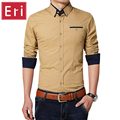New Casual Shirts Luxury Long-Sleeved Business Slim Fit Stylish Men Dress Shirts Solid Patchwork Plus Size Chemise Homme X452