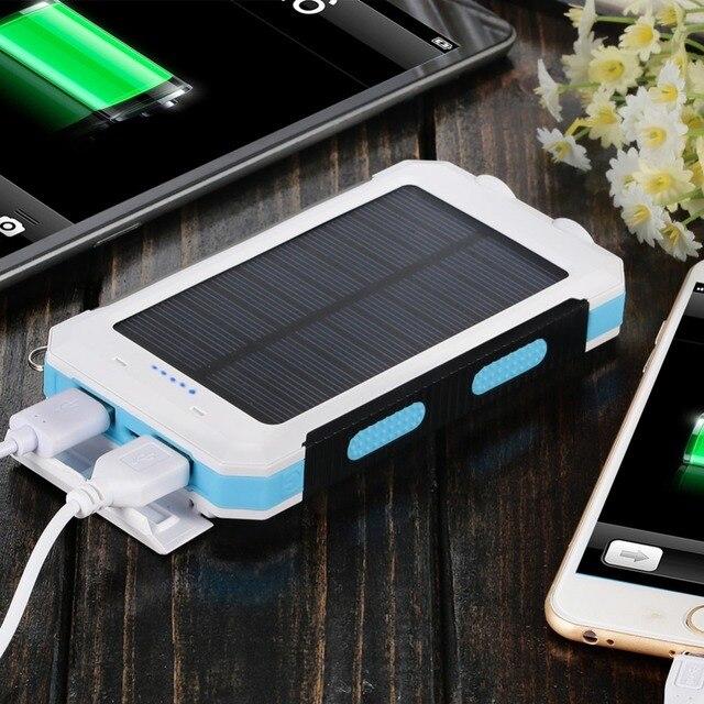 Новый 8000 мАч Powerbank Waterproof Solar Power Bank Bateria наружный Солнечное Зарядное Устройство Dual USB Порт для Смартфона Со СВЕТОДИОДНОЙ Подсветкой лампы