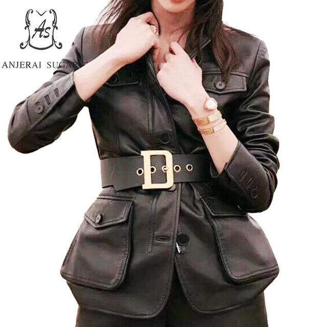 Sheepskin genuine leather jacket women coat Black female sexy OL office Slim Single Breasted Buttons belt Big pocket long Jacket