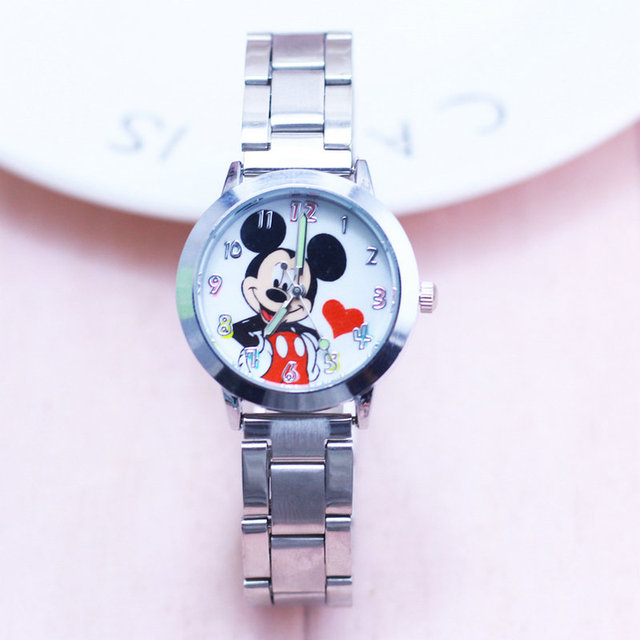 2018 new Fashion Watches Women Mickey Steel Cartoon Crystals Clock Watch Ladies