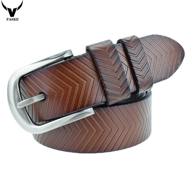 Cinturón de Hombre de Moda Para Hombre Cinturones de Lujo de Cuero Real 100% Estampado de Rayas de Cuero Genuino Correas de Piel de Vaca de Los Hombres Pantalones Vaqueros de La Correa L2391