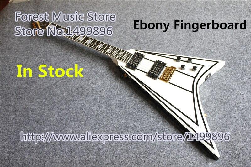 Vente chaude Randy Rhoads Jackson volant V guitares électriques ébène Fretboard guitare cou en Stock