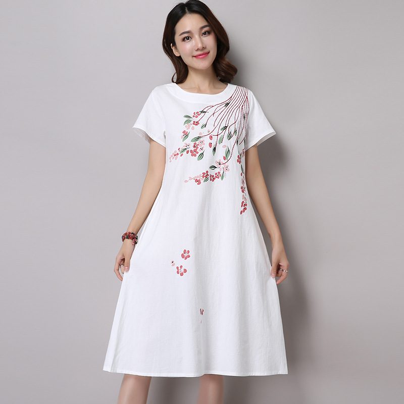 4 colors white linen dress vintage summer dress o neck for Short white summer wedding dresses