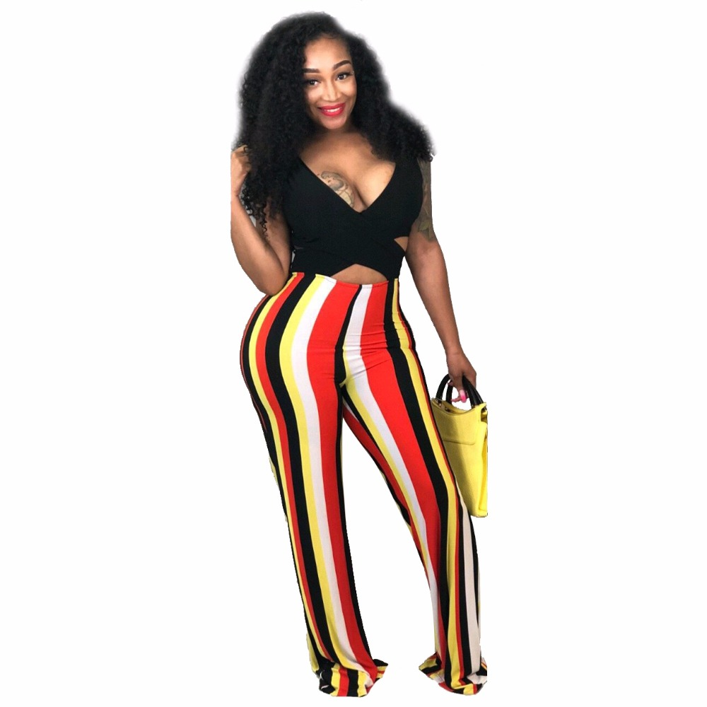 f9da250523 2018 Women New Fashion Autumn Winter Vestidos Rompers Ladies Club Bodysuits  Party Playsuits Evening Boot Cut Striped Jumpsuits-in Jumpsuits from Women s  ...