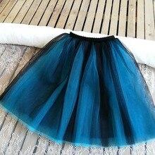 7 Layers Princess Midi Tulle Skirt High Waist Pleated Dance Tutu Skirts Womens Vintage Lolita Petticoat faldas rokken Jupe Saia