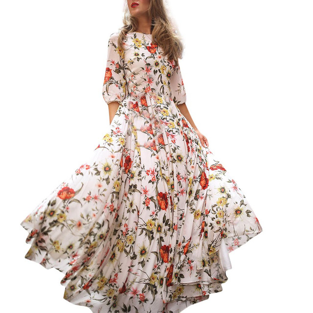 Fashion Summer Dress Women Casual Half Sleeve Boho Dresses Swing Floral-Printed Holiday Floor-Length Dresses Wholesales 40*