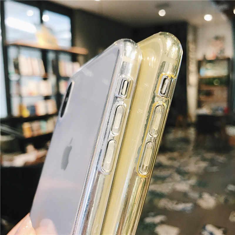 Lovebay untuk iPhone 7 Telepon Case Bening Solid Permen Warna untuk iPhone 11 Pro XS Max 6 6 S 7 8 Plus X XR Soft TPU Silicone Back Cover