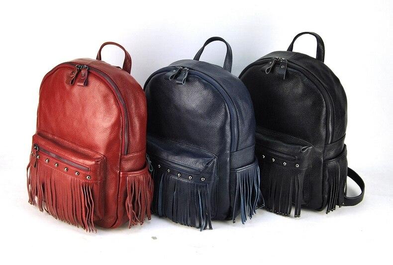 Women Genuine Real Leather Backpack Tassel Fringe Punk Rock Bag Back To School Book Fashion Casual Shoulder Purse Travel Daily - 6