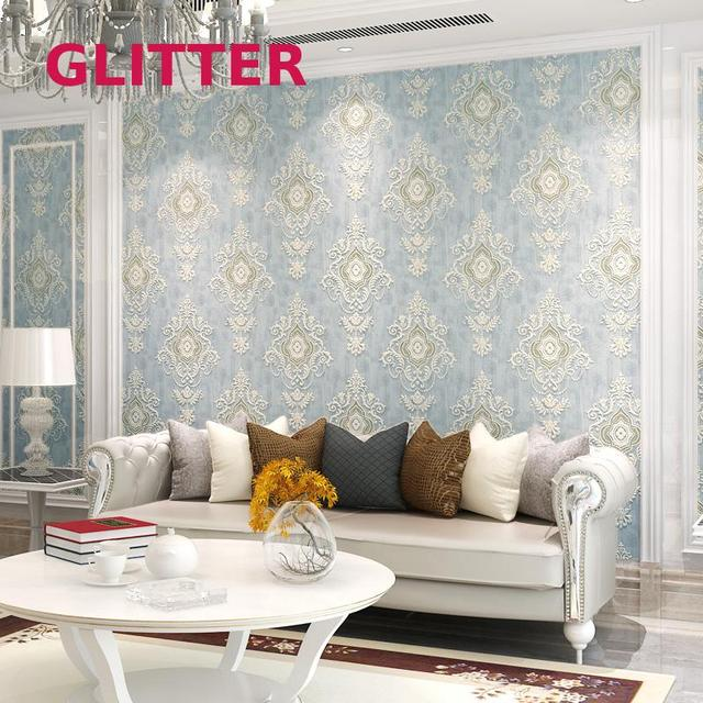 European Style Living Room Background Wallpaper Brown Retro Pattern ...
