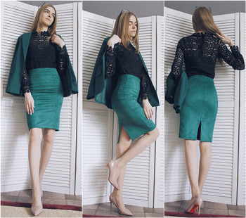 Multi colors 2019 Women Skirt Winter Solid Suede Work Wear Package Hip Pencil Midi Skirt Autumn Winter Bodycon Femininas SP012 1