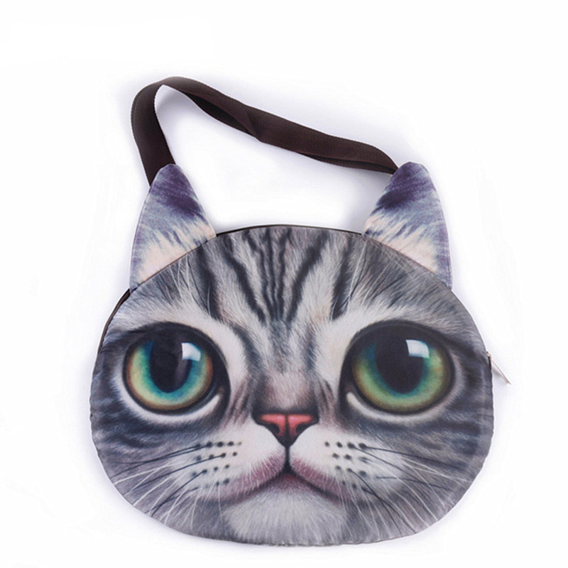 DAUNAVIA cute 3D cat face female handbag Messenger bag animal canvas shoulder bag face zipper MR.CAT makes you more lovely