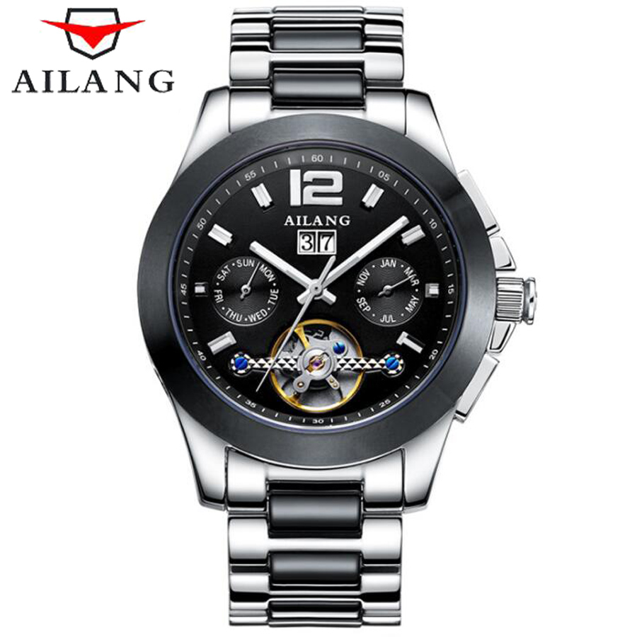 AILANG Fashion Mechanical Tourbillon Sport Mens Watches Top Brand Luxury Men Casual Waterproof 50M Watch Relogio Masculino 2016 hot sale top brand ailang luxury men watches casual fashion waterproof stainless steel wristwatches mechanical watch
