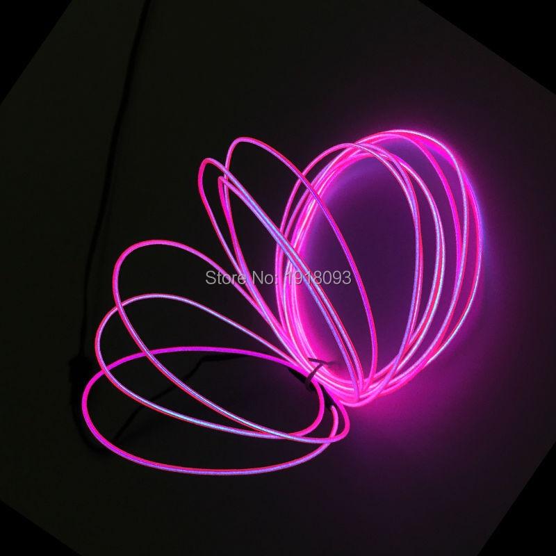 Flash Pink 1.3mm 5Meter LED Neon Light Not Include EL Inverter Party Decorative Novelty Lighting