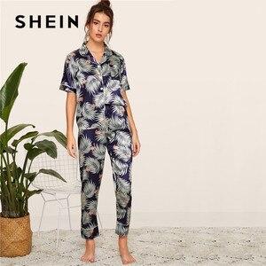 Image 3 - SHEIN プリントサテン春夏パジャマ女性服 2019 半袖長ズボンパジャマカジュアルポケット女性のパジャマセット