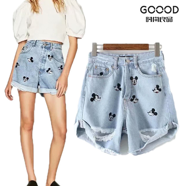 Women Shorts 2019 New Fashion Summer HighWaist Ripped Hole Mickey Mouse Embroidery Short Mini Jeans For Women Sexy Trousers