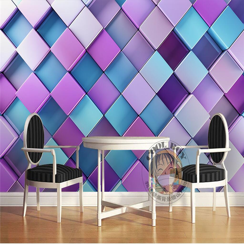 beibehang custom wallpaper purple fantasy KTV dynamic geometric square square diamond background,wallpaper for walls 3 d