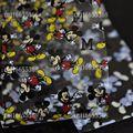 Galaxy transferencia art nail foil nail tips decoración de la etiqueta engomada color de la mezcla en una botella pequeña ratón feliz gl52