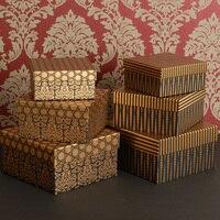 Archiwalne Papieru Opakowania Pole Złota Metalowe Pudełka Z Pokrywkami Kartonowe Pudełko na Biżuterię