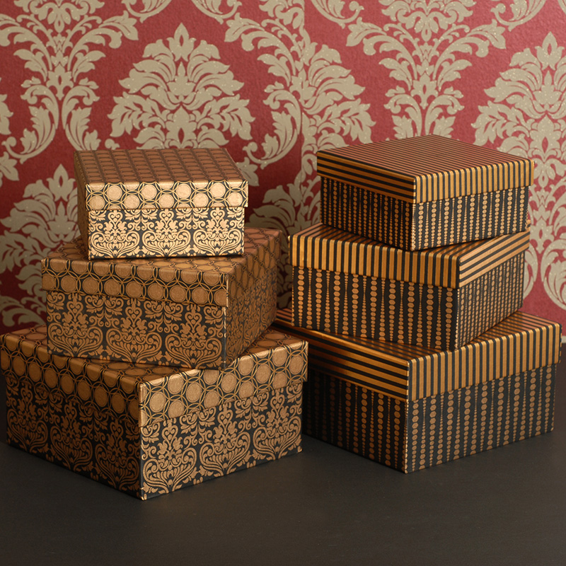 Vintage Paper Box Packaging Gold Metallic Gift Boxes With Lids Cardboard Jewellery Box ...