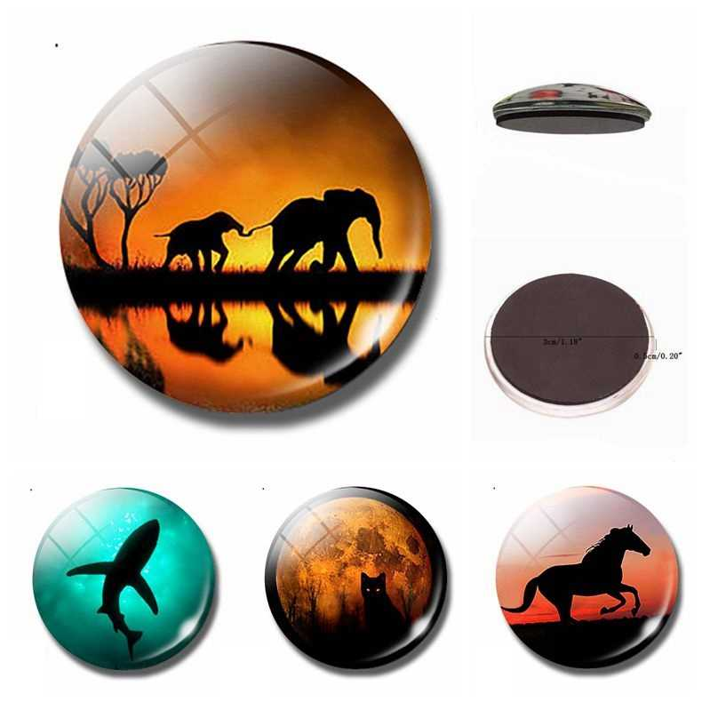 Animal Silhouette 30MM Glass Fridge Magnet Shadow Elephant Shark Cat Horse Whiteboard Decoration Refrigerator Magnetic Stickers