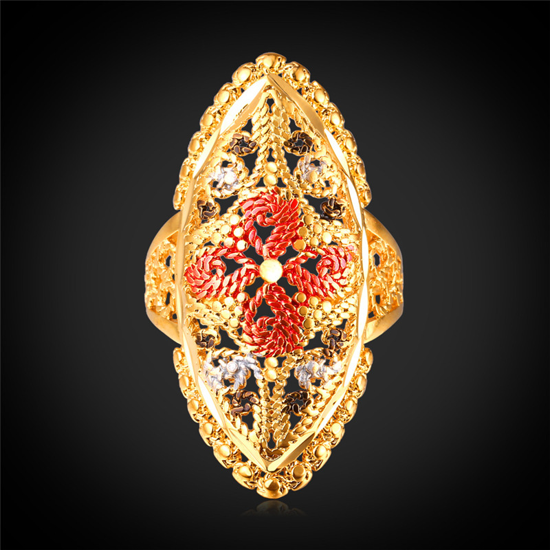 Kpop Trendy Pattern Vintage Ring New Gold Color Fashion Jewelry Wholesale Women Shield Colorful Flower With Gift Box R200